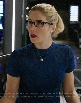 Felicity's blue dress with embroidered shoulders on Arrow