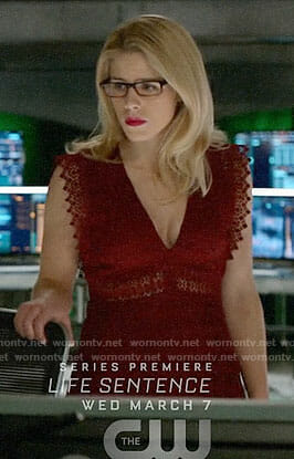 Felicity's red lace dress on Arrow