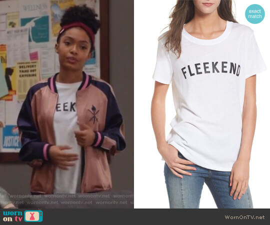 Fleekend Graphic Tee by Sub Urban Riot worn by Yara Shahidi on Grown-ish