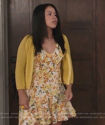 Mariana's floral ruffle dress and yellow cardigan on The Fosters