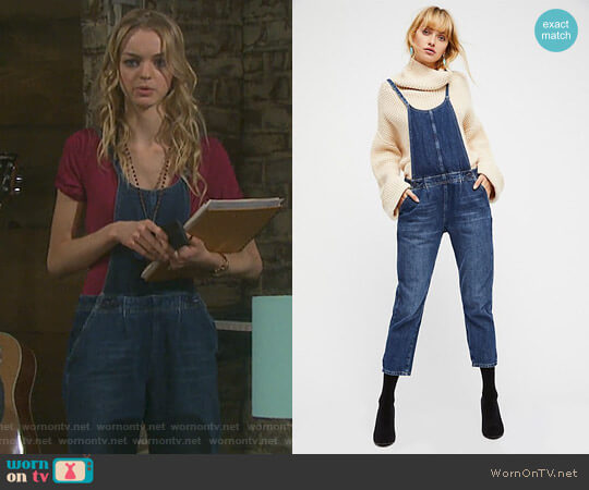Pleated Overall by Free People worn by Claire Brady (Olivia Rose Keegan) on Days of our Lives