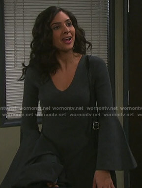 Gabi's grey v-neck bell sleeve dress on Days of our Lives
