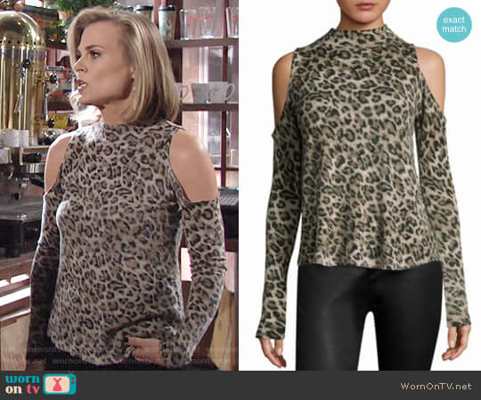 Generation Love Lena Leopard Cashmere Top worn by Phyllis Newman (Gina Tognoni) on The Young & the Restless