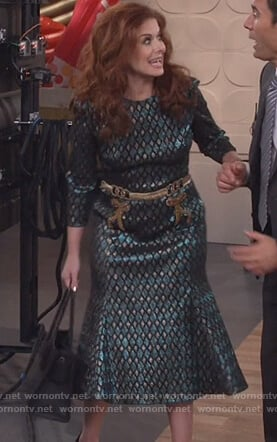 Grace's green and gold metallic dress on Will and Grace