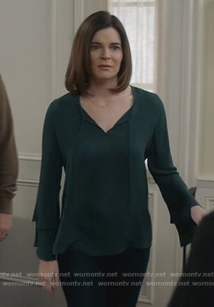 Heather's green bell sleeve top on Life in Pieces