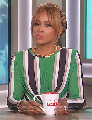 Eve's green striped dress on The Talk