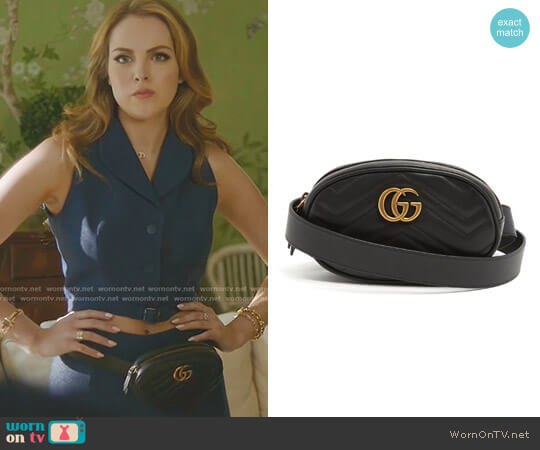 GG Marmont Quilted-Leather Belt Bag by Gucci worn by Fallon Carrington (Elizabeth Gillies) on Dynasty