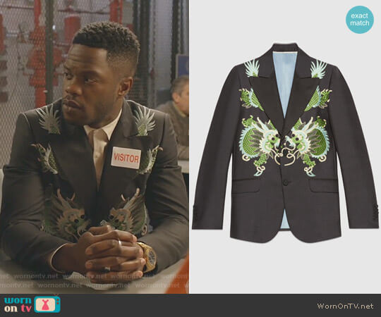 Heritage Wool Mohair Jacket with Dragons by Gucci worn by Jeff Colby (Sam Adegoke) on Dynasty