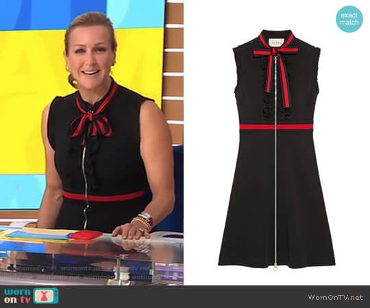 Jersey Dress with Web Trim by Gucci worn by Lara Spencer (Lara Spencer) on Good Morning America
