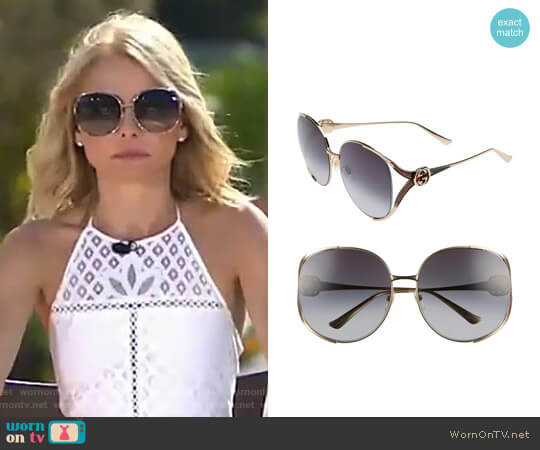 Open Temple Sunglasses by Gucci worn by Kelly Ripa  on Live with Kelly & Ryan