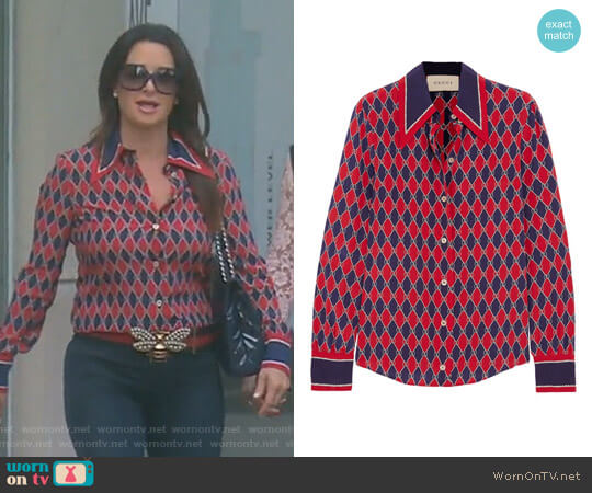 Gucci Rhombus Print Silk Shirt by Gucci worn by Kyle Richards on The Real Housewives of Beverly Hills
