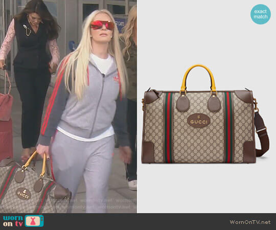 Soft GG Supreme Duffle Bag with Web by Gucci worn by Erika Girardi on The Real Housewives of Beverly Hills