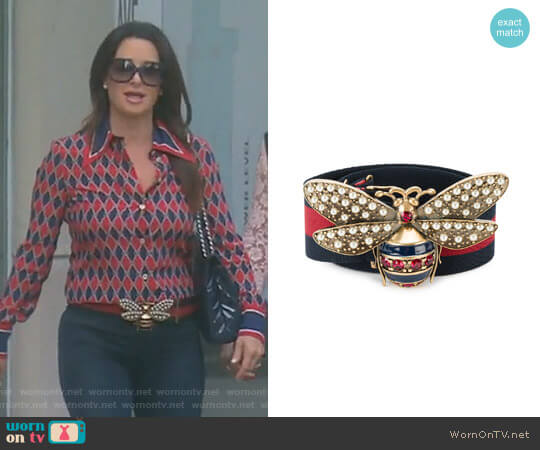 Bee Embellished Web Belt by Gucci worn by Kyle Richards on The Real Housewives of Beverly Hills