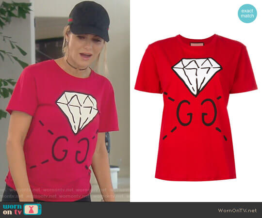 Diamond Print Logo T-shirt by Gucci worn by Dorit Kemsley on The Real Housewives of Beverly Hills