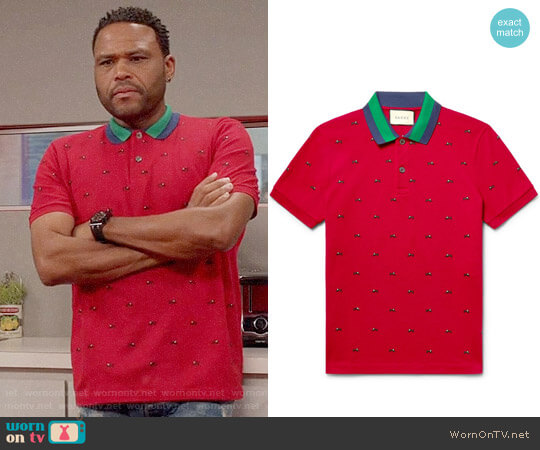 4b468c4b0b4d Gucci Embroidered Stretch-Cotton Piqué Polo Shirt worn by Andre Johnson  (Anthony Anderson)