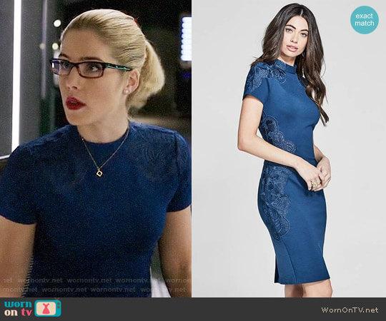Guess Hamor Lace Dress worn by Emily Bett Rickards on Arrow