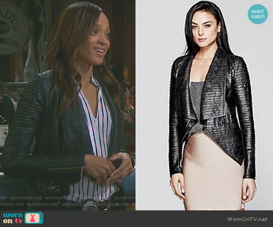 'Shayna' Drape Leather Jacket by Guess worn by Sal Stowers on Days of our Lives