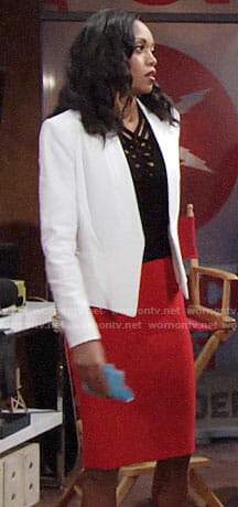 Hilary's black strappy top and white blazer on The Young and the Restless