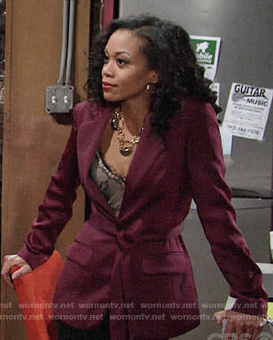 Hilary's burgundy blazer and lace top on The Young and the Restless