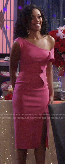 Hilary's pink ruffled Valentines Day dress on The Young and the Restless