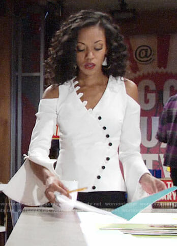 Hilary's white button front top on The Young and the Restless