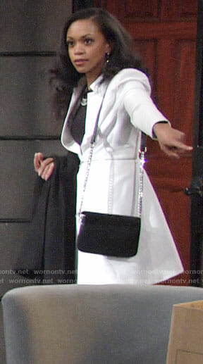Hilary's white zipped waist coat on The Young and the Restless