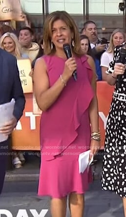 Hoda's pink ruffled dress on Today