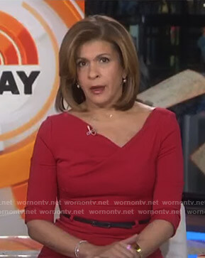 Hoda's red asymmetric neck dress on Today