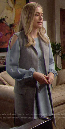 Hope's blue cold shoulder dress and grey vest on The Bold and the Beautiful