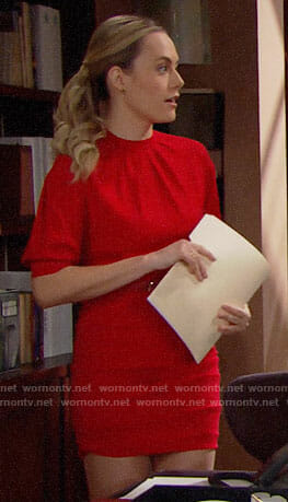 Hope's red ruched mini dress on The Bold and the Beautiful