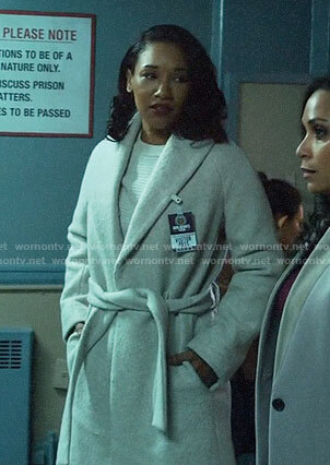 Iris's belted coat on The Flash