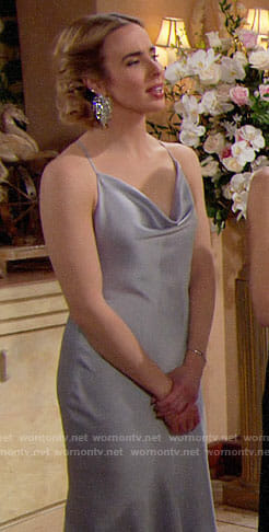 Ivy's silver cowl neck gown on The Bold and the Beautiful