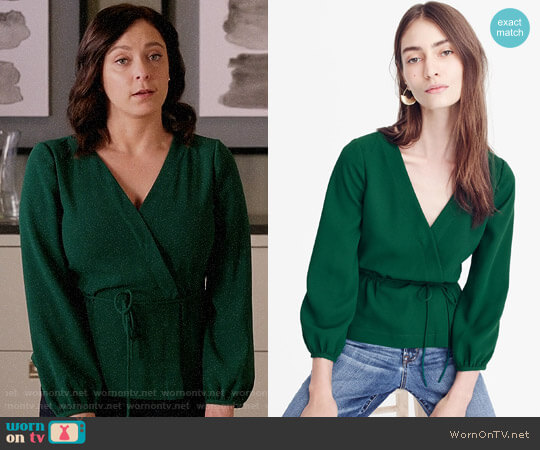 J. Crew Drapey Crepe Faux Wrap Top worn by Rachel Bloom on Crazy Ex-Girlfriend