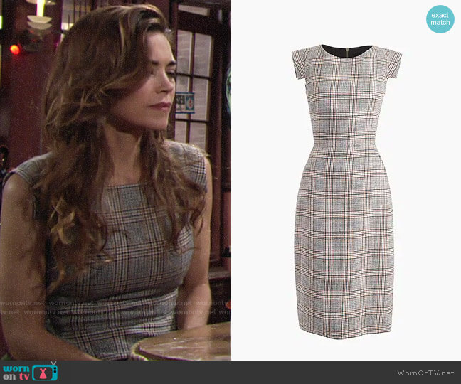 J. Crew Cap-Sleeve Dress in Glen Plaid worn by Victoria Newman (Amelia Heinle) on The Young & the Restless