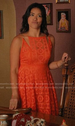 Jane's orange lace dress on Jane the Virgin