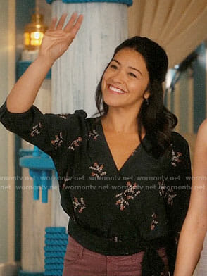 Jane's black floral wrap top on Jane the Virgin