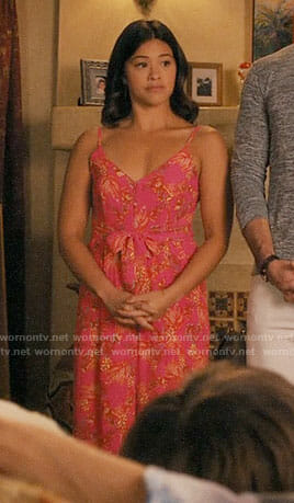 Jane's pink palm print jumpsuit on Jane the Virgin