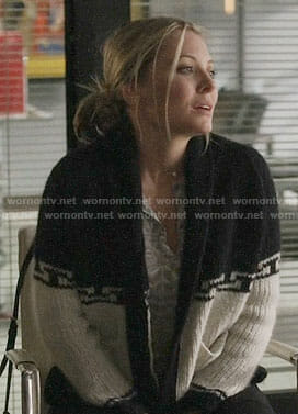 Jessie's black and white cardigan on Nashville