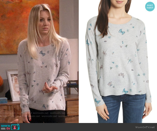 Joie Eloisa Butterfly Sweater worn by Kaley Cuoco on The Big Bang Theory