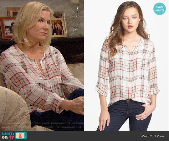 Joie Kariana Plaid Blouse worn by Katherine Kelly Lang on The Bold & the Beautiful