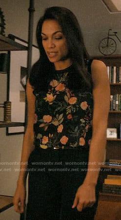 JR's floral sleeveless top on Jane the Virgin