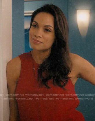 Petra's satin mock neck top and floral shorts on Jane the Virgin