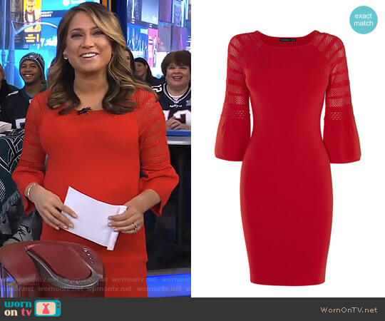 Fluted Sleeve Dress by Karen Millen worn by Ginger Zee  on Good Morning America