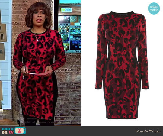 Leopard Pencil Dress by Karen Millen worn by Gayle King on CBS This Morning