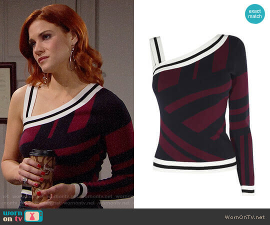 Karen Millen One Shoulder Stripe Top worn by Courtney Hope on The Bold & the Beautiful