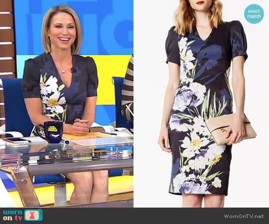 Sculpting Floral Pencil Dress by Karen Millen worn by Amy Robach on Good Morning America