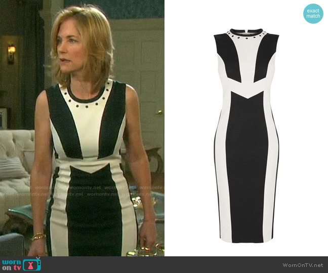 White Contrast Panel Dress by Karen Millen worn by Eve Donovan (Kassie DePaiva) on Days of our Lives