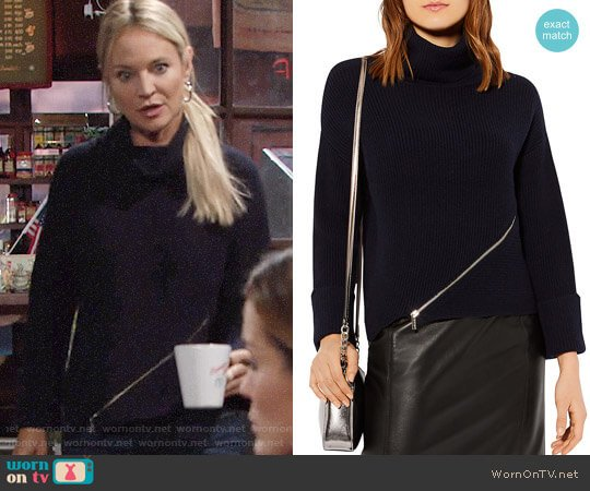 Karen Millen Zip-Detail Turtleneck Sweater worn by Sharon Case on The Young & the Restless