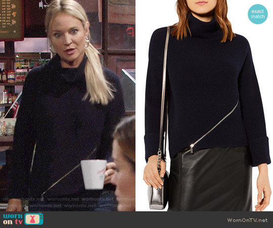 Karen Millen Zip-Detail Turtleneck Sweater worn by Sharon Collins (Sharon Case) on The Young & the Restless