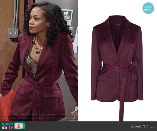 Karen Millen PJ Inspired Belted Blazer worn by Hilary Curtis (Mishael Morgan) on The Young & the Restless
